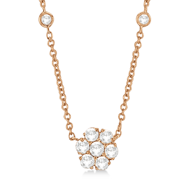 Flower Pendant Diamond Station Necklace 14k Rose Gold (1.00ct)