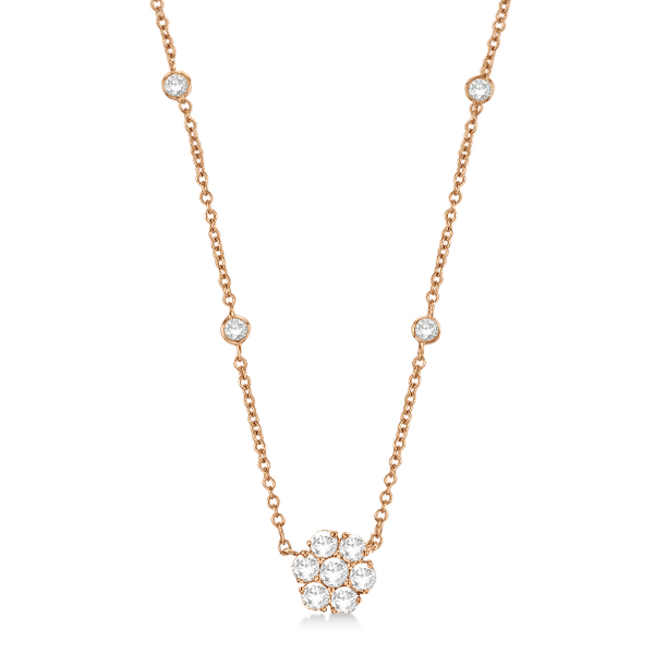 Flower Pendant Diamonds By The Yard Necklace 14k Rose Gold (1.00ct)