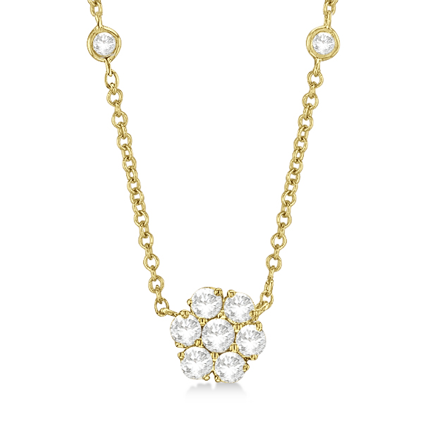 Flower Pendant Diamond Station Necklace 14k Yellow Gold (1.50ct)