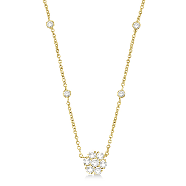 Flower Pendant Diamond Station Necklace 14k Yellow Gold (1.00ct)