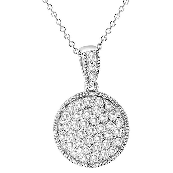 Round Diamond Circle Pendant Necklace 14k White Gold (1.02ct)