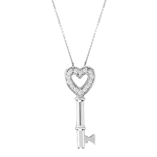 Diamond Open Heart Pendant Necklace Key 14k White Gold (0.15ct)