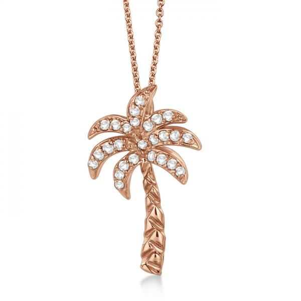 palmtree jewelry palm tree shaped pendant necklace 14k gold 0 6463
