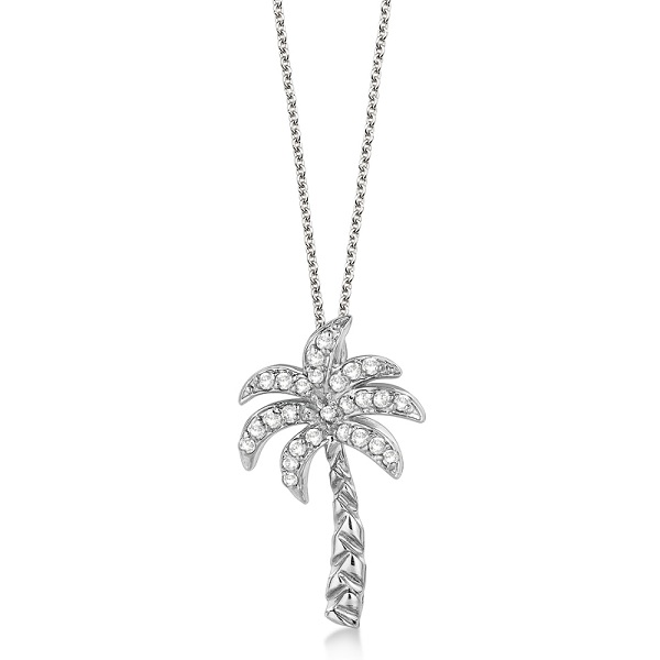 Palm Tree Shaped Diamond Pendant Necklace 14k White Gold (0.25ct)
