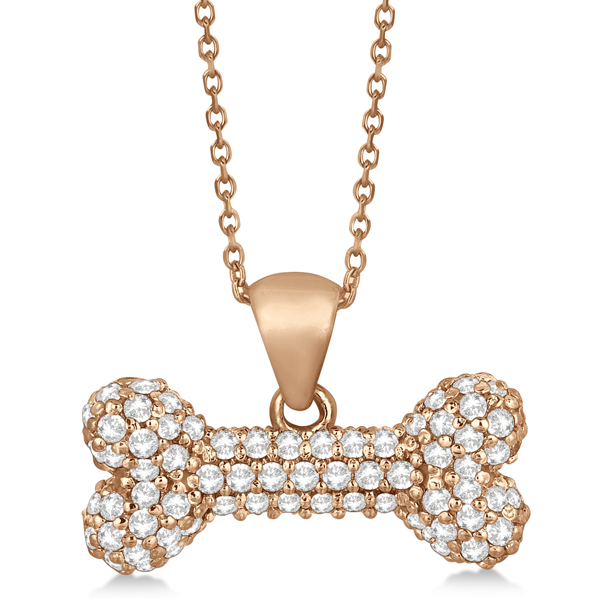 Pave Diamond Dog Bone Pendant Necklace 14K Rose Gold (0.80ct)