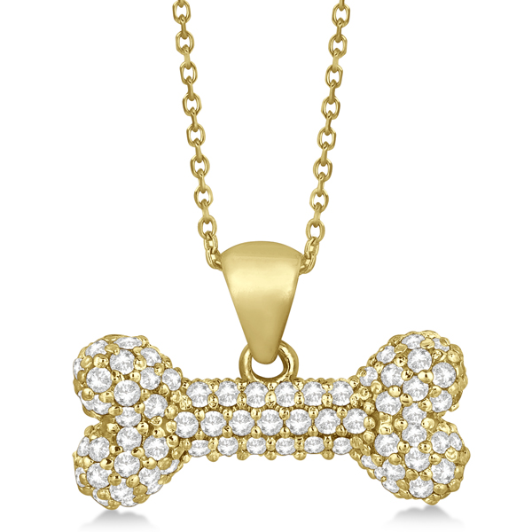Pave Diamond Dog Bone Pendant Necklace 14K Yellow Gold (0.80ct)