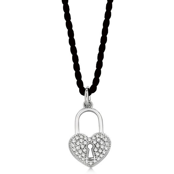 Diamond Puffed Heart Lock Pendant Necklace 14k White Gold (0.35ct)