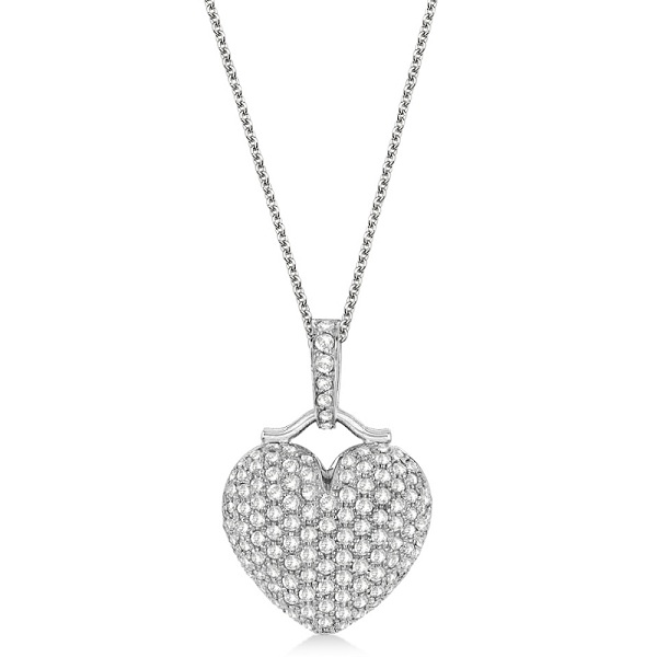 Puffed Heart Diamond Pendant Necklace 14k White Gold (2.55ct)