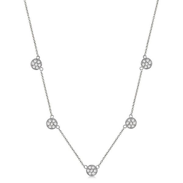 Pave-Set Circle Diamond Station Necklace 14k White Gold (0.75ct)