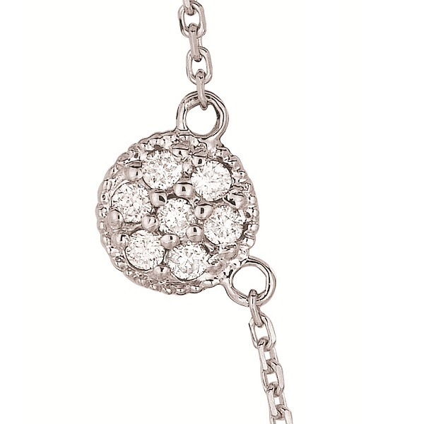 Pave-Set Circle Diamond Station Necklace 14k White Gold (0.75ct)