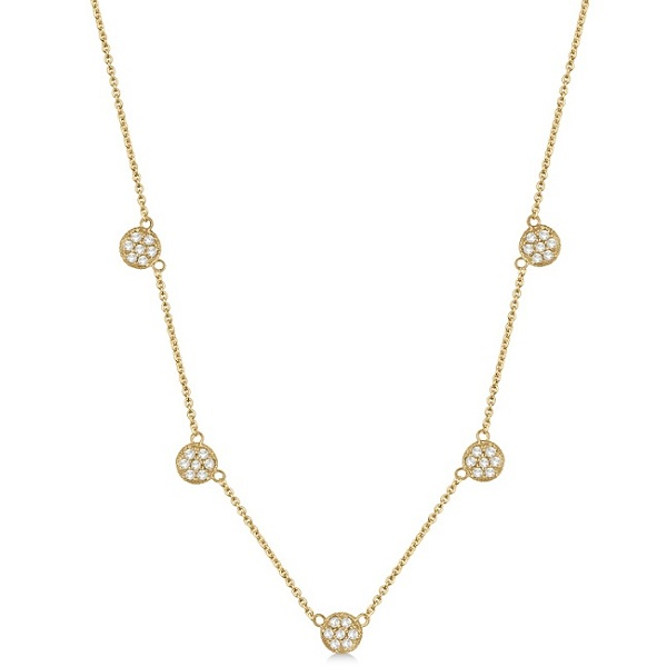 Pave-Set Circle Diamond Station Necklace 14k Yellow Gold (0.75ct)