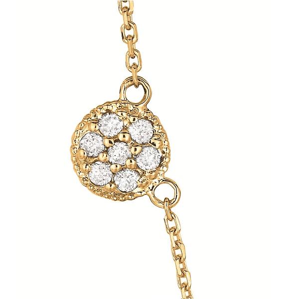Pave-Set Circle Diamond Station Necklace 14k Yellow Gold (0.75ct)