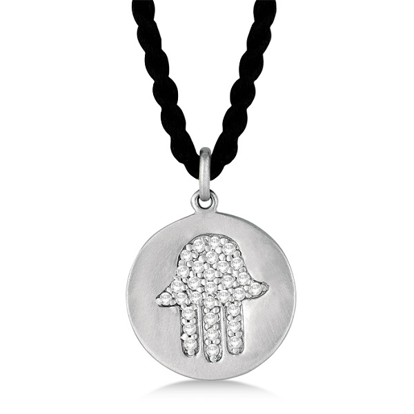 Hamsa Disc Shaped Diamond Pendant Necklace 14k White Gold (0.30ct)
