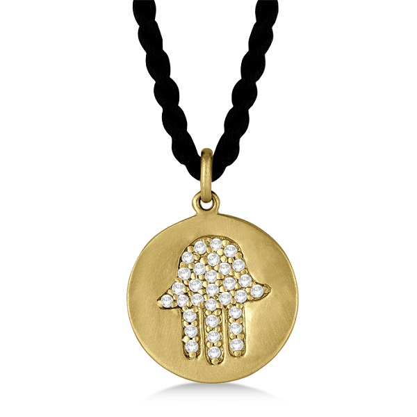 Hamsa Disc Shaped Diamond Pendant Necklace 14k Yellow Gold (0.30ct)
