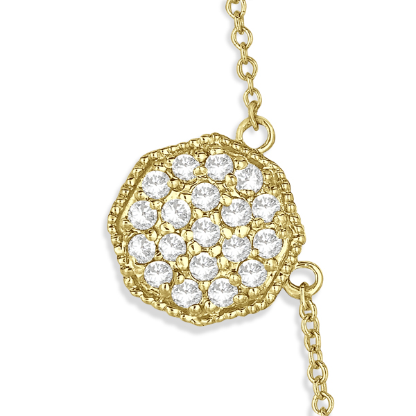 Pave-Set Octagon Station Diamond Necklace 14k Yellow Gold (1.33ct)
