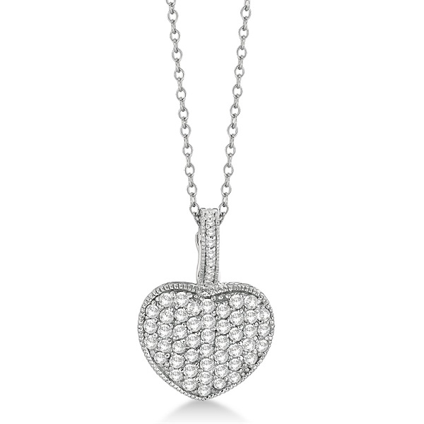 Puffed Heart Shaped Diamond Pendant Necklace 14k White Gold (1.55ct)