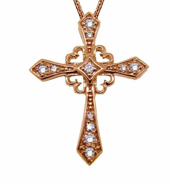 Antique Style Diamond Cross Pendant Necklace 14k Rose Gold (0.25ct)