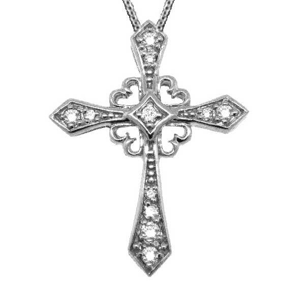 Antique Style Diamond Cross Pendant Necklace 14k White Gold (0.25ct)