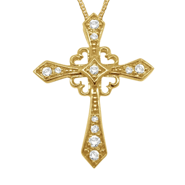 Antique Style Diamond Cross Pendant Necklace 14k Yellow Gold (0.25ct)