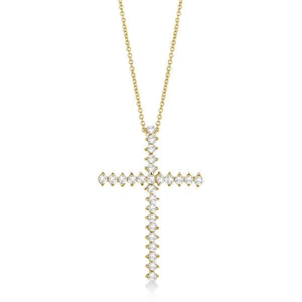 Diamond Cross Pendant Necklace 14kt Yellow Gold (1.00ct)