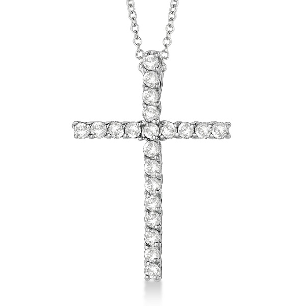 Diamond Cross Pendant Necklace 14kt White Gold (0.75ct)