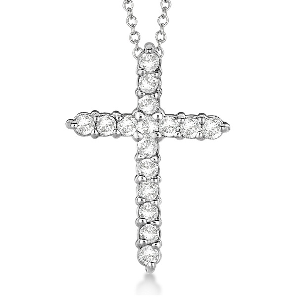 Diamond Cross Pendant Necklace 14kt White Gold (0.50ct)