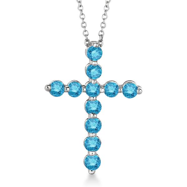 Fancy Blue Diamond Cross Pendant Necklace 14k White Gold (1.01ct)