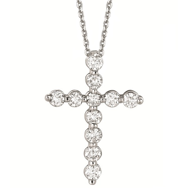 Diamond Cross Pendant Necklace in 14k White Gold (1.01ct)