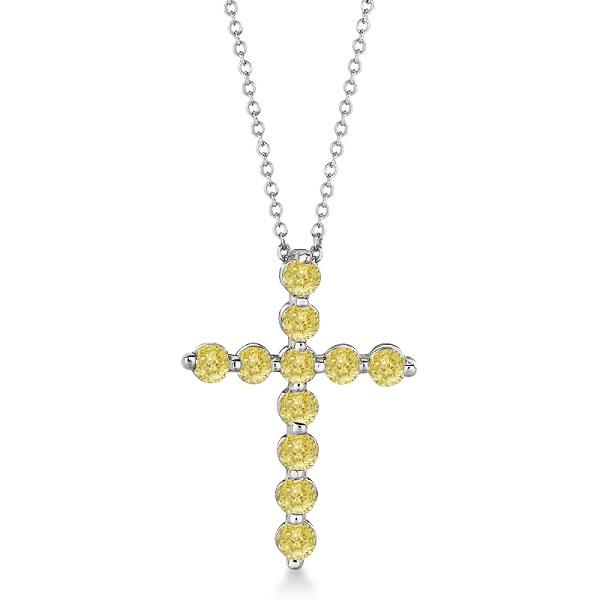 Fancy Yellow Diamond Cross Pendant Necklace 14k White Gold (1.01ct)