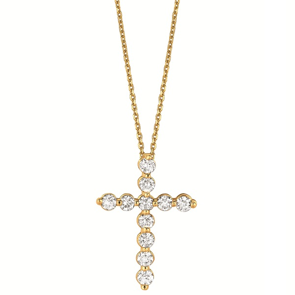 Diamond Cross Pendant Necklace in 14k Yellow Gold (1.01ct)
