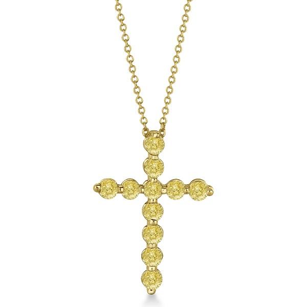 Fancy Yellow Diamond Cross Pendant Necklace 14k Yellow Gold (1.01ct)