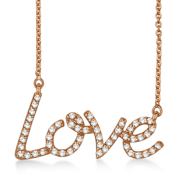 """Love"" Diamond Pendant Necklace 14k Rose Gold (0.50ct)"
