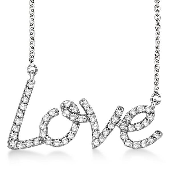 """Love"" Diamond Pendant Necklace 14k White Gold (0.50ct)"