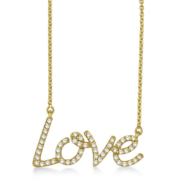 """Love"" Diamond Pendant Necklace 14k Yellow Gold (0.50ct)"