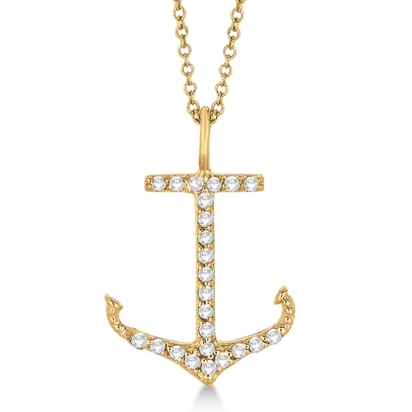 Anchor Shaped Diamond Pendant Necklace 14k Yellow Gold (0.30ct)