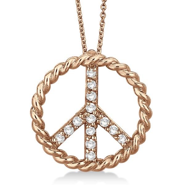 Diamond Peace Sign Swirl Pendant Necklace 14k Rose Gold (0.15ct)
