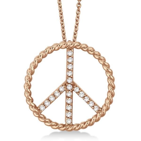 Diamond Peace Sign Swirl Pendant Necklace 14k Rose Gold (0.25ct)