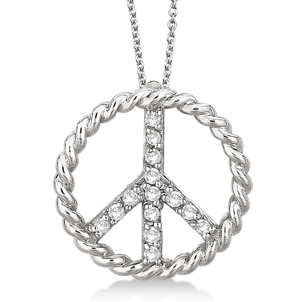 Diamond Peace Sign Swirl Pendant Necklace 14k White Gold (0.15ct)