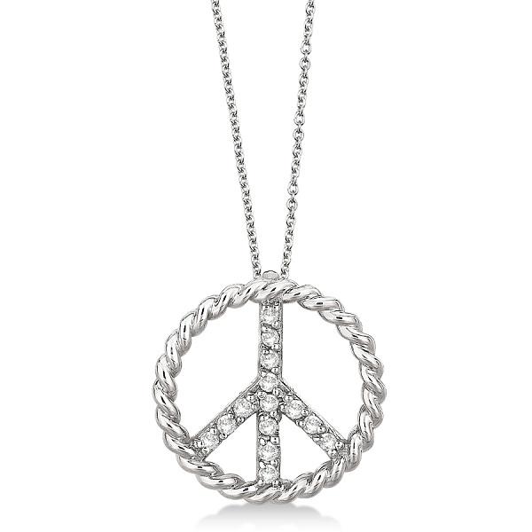 Diamond Peace Sign Swirl Pendant Necklace 14k White Gold (0.15ct)