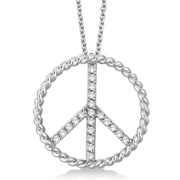 Diamond Peace Sign Swirl Pendant Necklace 14k White Gold (0.25ct)