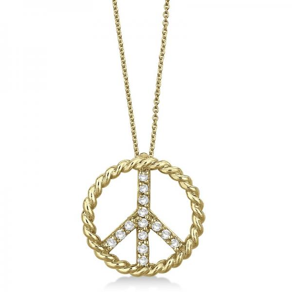 Diamond Peace Sign Swirl Pendant Necklace 14k Yellow Gold (0.15ct)