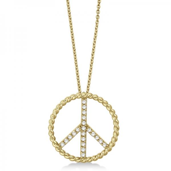 Diamond Peace Sign Swirl Pendant Necklace 14k Yellow Gold (0.25ct)