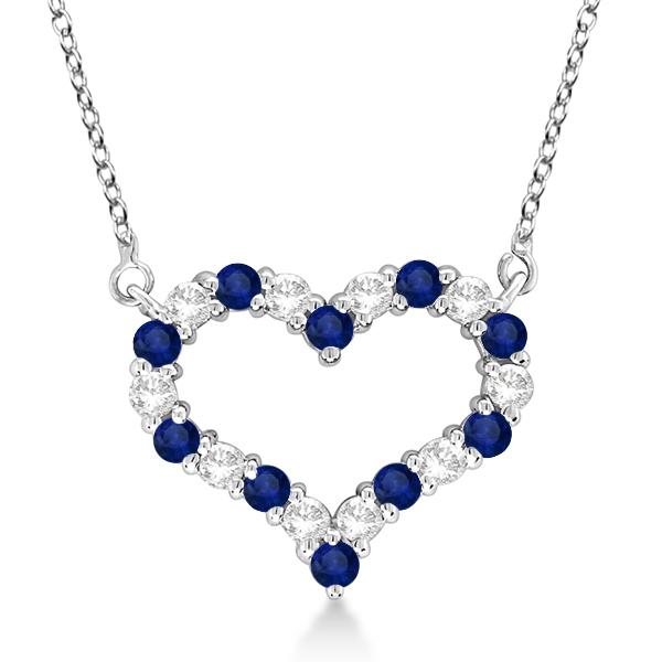 Open Heart Diamond & Sapphire Pendant Necklace 14k White Gold (1.30ct)