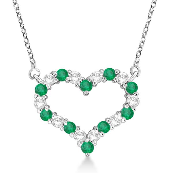 Open Heart Diamond & Emerald Pendant Necklace 14k White Gold (1.10ct)