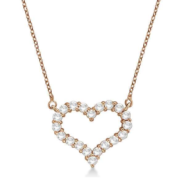 Open Heart Diamond Pendant Necklace 14k Rose Gold (0.50ct)
