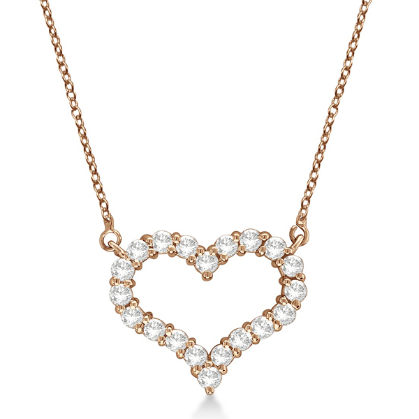 Open Heart Diamond Pendant Necklace 14k Rose Gold (1.00ct)