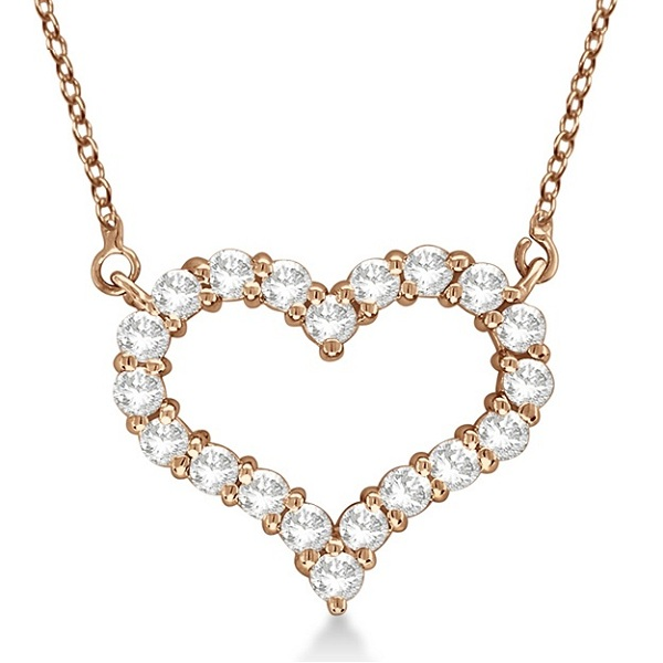 Open Heart Diamond Pendant Necklace 14k Rose Gold (2.00ct)