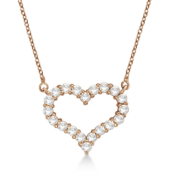 Open Heart Diamond Pendant Necklace 14k Rose Gold (3.10ct)
