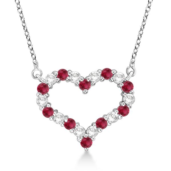 Open Heart Diamond & Ruby Pendant Necklace 14k White Gold (0.65ct)
