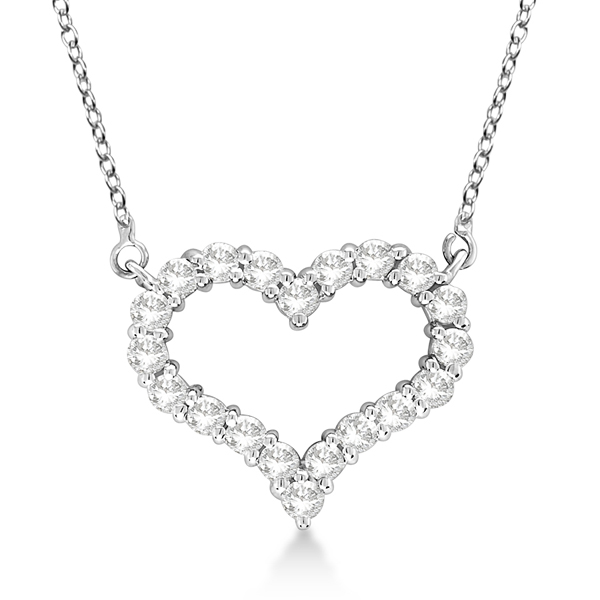 Open Heart Diamond Pendant Necklace 14k White Gold (0.50ct)